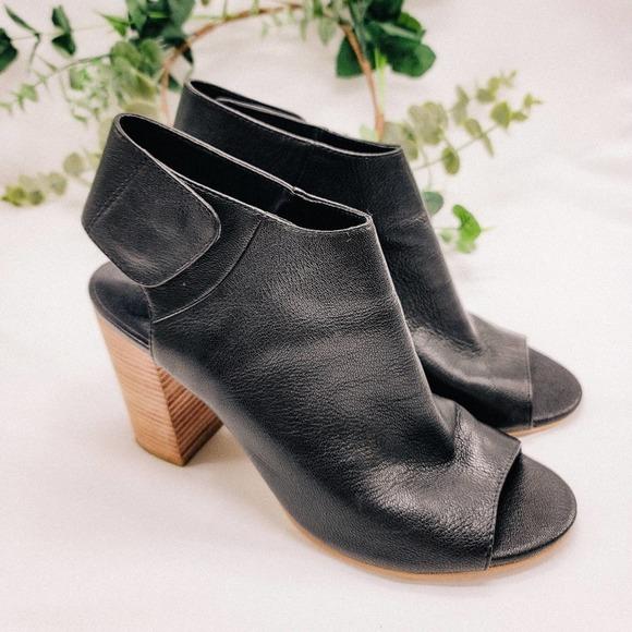 Crown vintage black leather peeptoe heeled booties